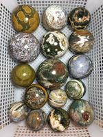 1kg wholesale Different size color crystal natural polished ocean jasper crystal ball
