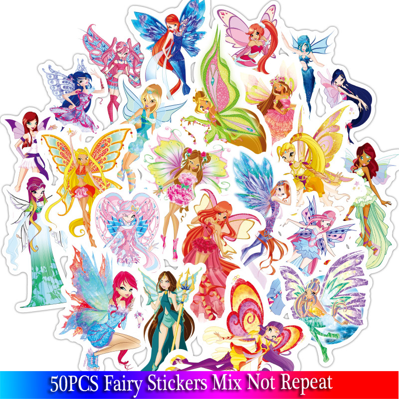 50Pcs New Butterfly Fairy Girl Stickers Sets For Motorcycle Snowboard Luggage Car Fridge Car- Styling Laptop