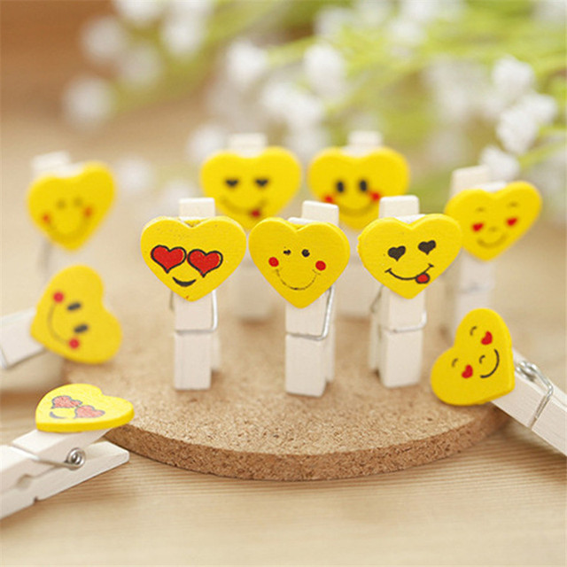 12PCS Yellow Color Mini Love Heart Emoji Wooden Peg Pin Clothespin Craft Clips For Photo Paper Clip With Hemp Rope 3.5*0.7cm  DA