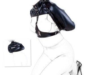 Women's Black Locking Straitjacket Top Sex Harness Bondage Restraint Open Breast Erotic Kinky Fetish Sex Toys For Adult Games