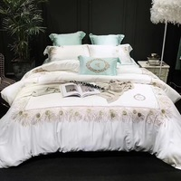 White Light Green Luxury 80S Tencel Silk Golden Crown Peacock Feather Embroidery Bedding Set Duvet Cover Bed sheet Pillowcases