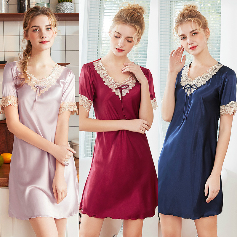 Roseheart Women Fashion Pink Red Sexy Female Lace Mini Nightdress Faux Silk V Neck Sleepwear Plus Size   Nightgowns     Sleepshirts