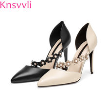 fa301d7e7842 Knsvvli pointy toe black genuine leather women pumps fashion openwork  flower one word band high heel shoes woman summer