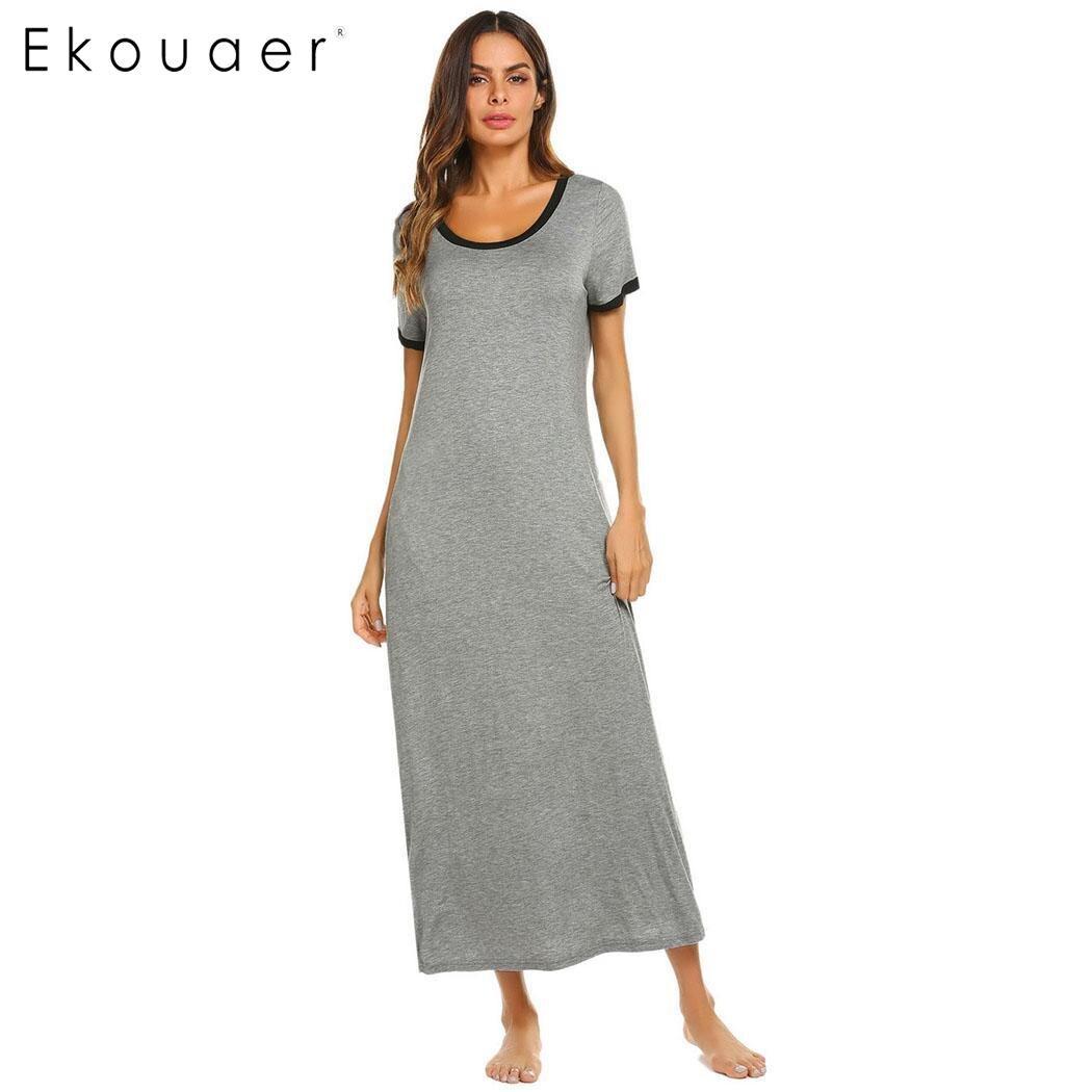 ... Long Chemise Nightgown Women Cotton Nightwear Dress Solid Casual Short Sleeve  Nightdress Sleepwear Homewear Plus Size on Aliexpress.com  ecb82c9f8