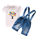Toddler boys clothing sets 2017 Summer Kids Clothes Cartoon Baby boy costume 2 PCs T-shirt+overalls Children boys set T6105