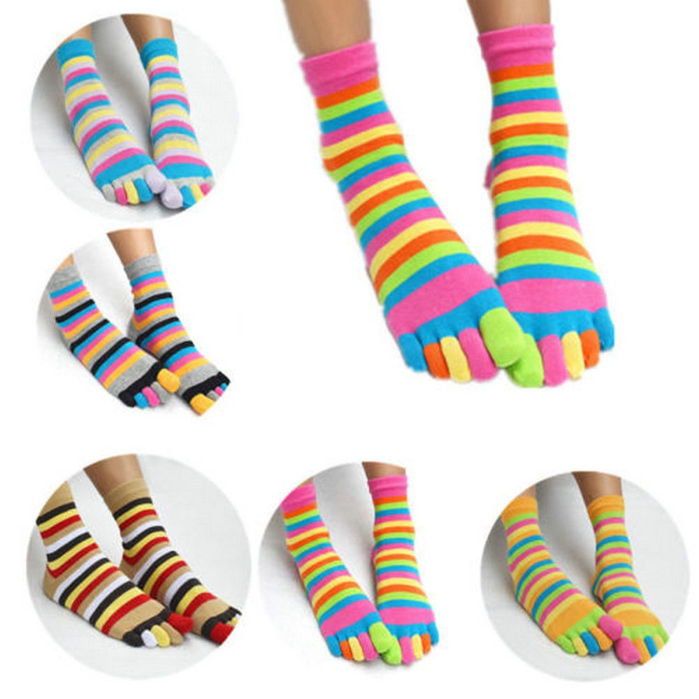 1 Pair Colorful Striped   Socks   Women Cotton Five Finger Toe Breathable Soft Rainbow Short   Sock   Girls harajuku Streetwear Dropship