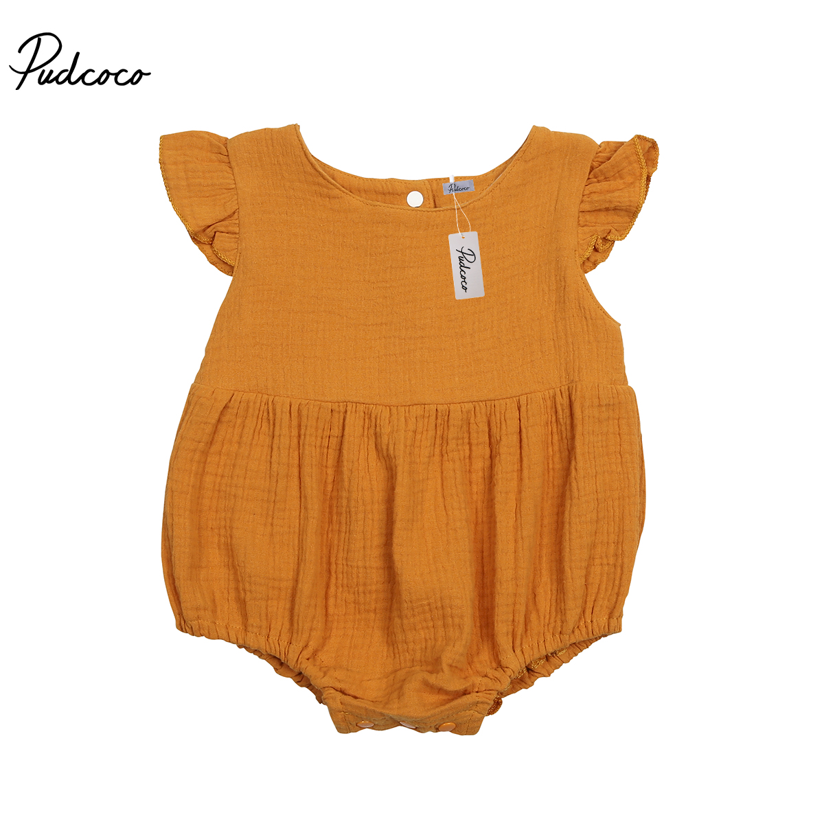 Pudcoco Cotton Baby Rompers Vintage Short Sleeve Baby Girl R