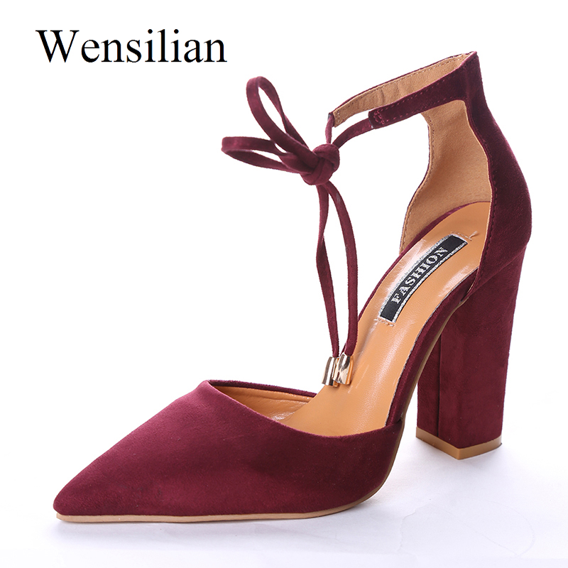 Gladiator Sandals Heel Shoes Red High Heels Sweet Ankle Strap Pumps Pointed Toe Shoes Women Lace-Up Sandals Black Zapatos Mujer fashion suede leather heeled sandals pointed toe lace up women pumps spikle high heel women shoes zapatos mujer