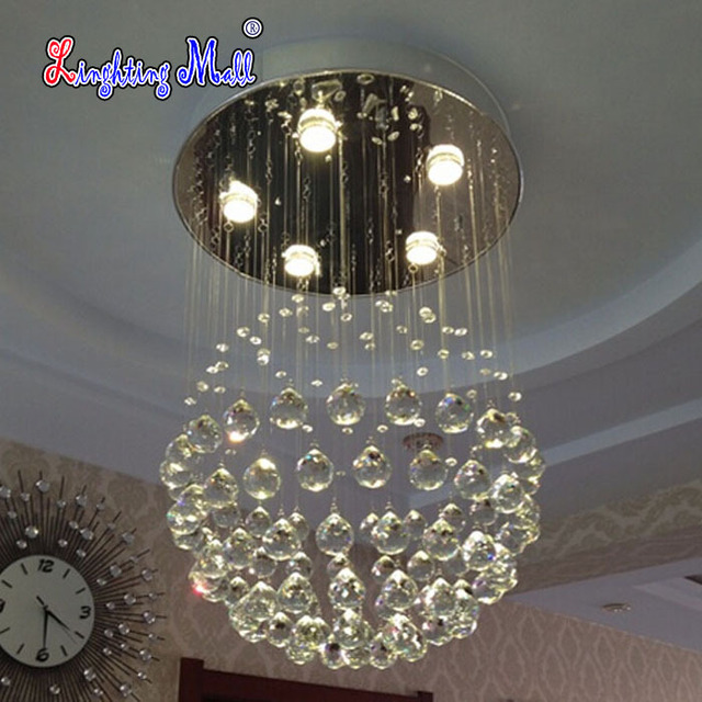 D50cmxh55cm 5 Lights Modern Led Crystal Chandelier Rain Drop Chandeliers Lighting With