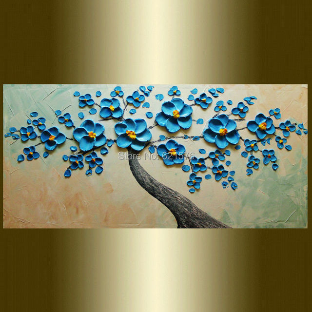 Hand painted modern home decor blue blooming flower tree wall art ...