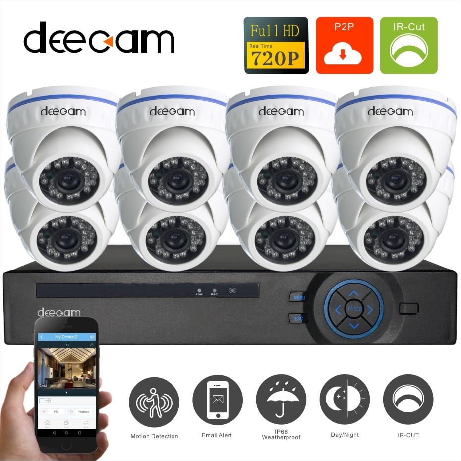 Deecam HD 1200TVL 720P home Video Security Kit Camera Surveillance System 720P Outdoor Dome CCTV DVR 8CH  8 Channel night vision hd 8ch cctv system 720p dvr 8pcs 720p 1200tvl ir outdoor video surveillance security camera system 8 channel dvr kit