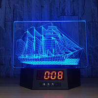 Boat Shape 3D Table Lamp For bay Kids Bedroom Multi Function and Colorful Baby Light Lamp with Clock Novelty gifts for Home deco