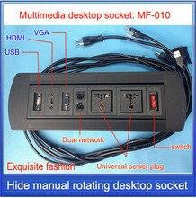 Swiss plugs soquete/tomada de mesa hdmi/escondido manual rotação/multimídia tomada de desktop rede RJ45 HDMI USB VGA/MF-010