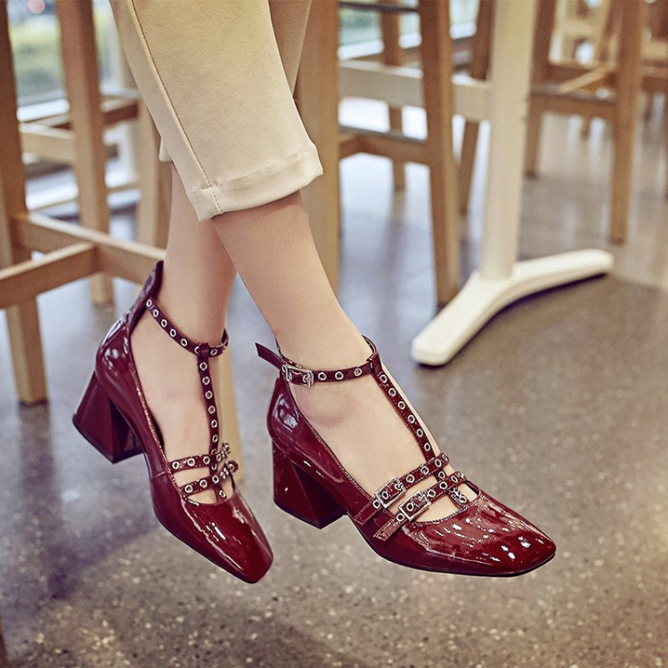 Hot Sale 2018 Spring Summer Woman Pumps Red Wine Color Square Toe Rivets Buckle High Heels Hollow Mary Jane Shoes Zapatos Mujer лукьянов а с цунами книга первая сотрясатели земли