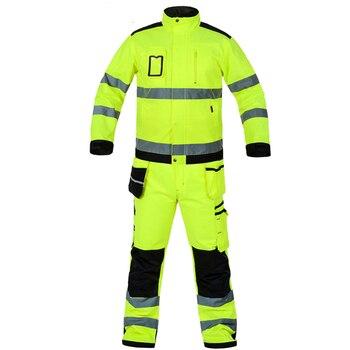 Bauskydd Высокая Видимость спецодежды костюм работы флуоресцентный желтый Рабочая куртка рабочие брюки с наколенниками Бесплатная доставка