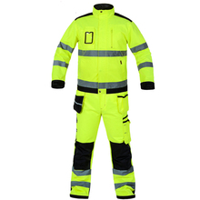 цены High visibility workwear suit work suit fluorescent yellow work jacket work pants with knee pads  free shipping