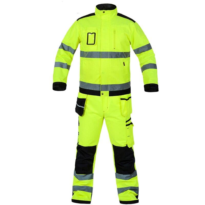 Bauskydd 高可視性作業服スーツ作業スーツ蛍光黄色のワークジャケットワークパンツ膝パッド送料無料  グループ上の セキュリティ & プロテクション からの 安全服 の中 1