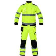 Bauskydd وضوح عالية عمال البدلة بدلة عمل الفلورسنت الأصفر العمل سترة العمل السراويل مع منصات الركبة شحن مجاني