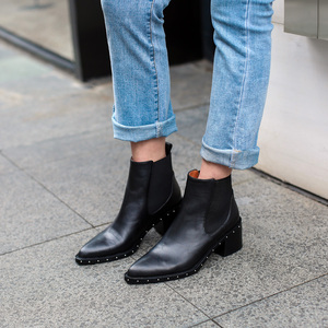 Image 2 - 2020 Latest Rivet Chelsea Boot Women Ankle Boots Winter Booties Genuine Leather Womens High Square Heel Shoes Female Footwear