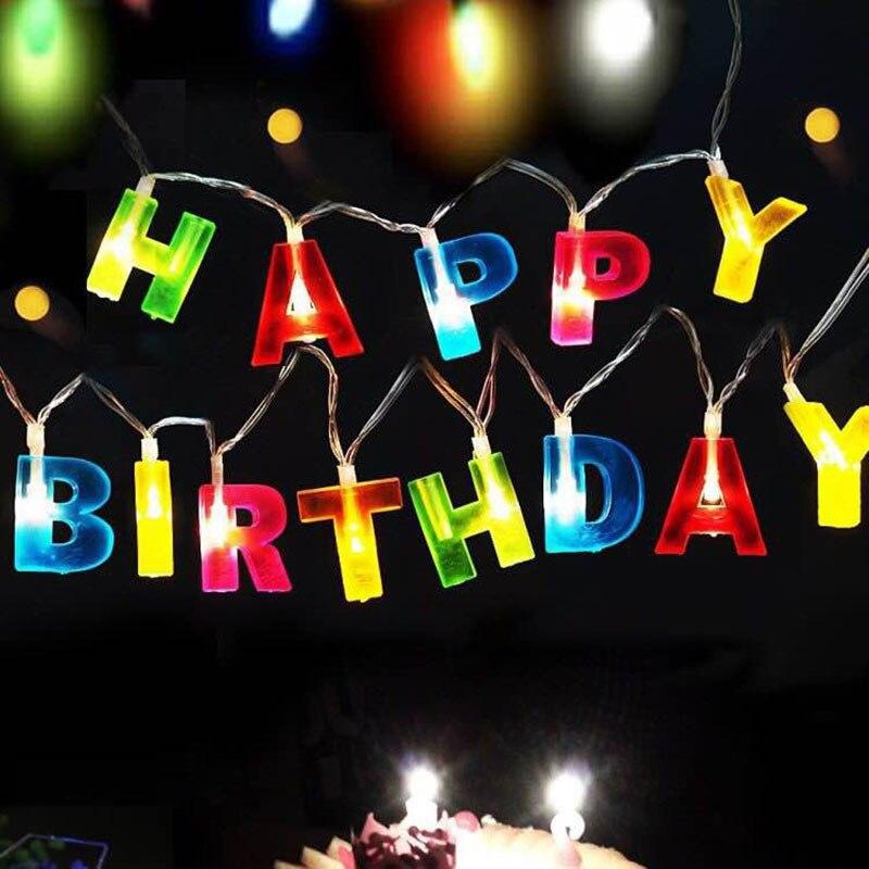 Birthday lighting string light 14 LED Color Happy Birthday Greeting String Fairy Lights 1.5m