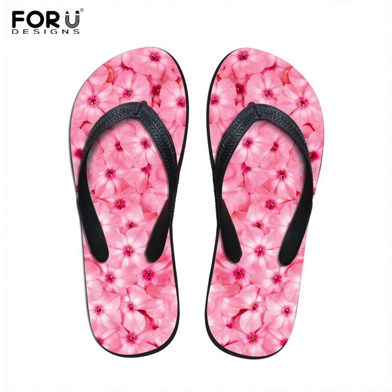 Forudesigns Fashion Womens Summer Beach Slippers 2018 Novelty Floral Printed Rubber Flip Flops For Woman Female Sandals Shoes Modern Techniques Flip Flops
