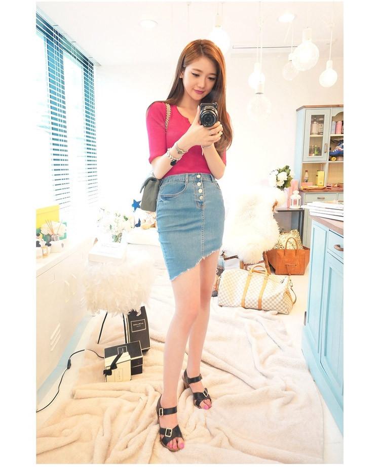 0af7ee1f296 Women Skirt 2018 Top Fashion Denim Vintage Pencil Buttons Mini jeans ...