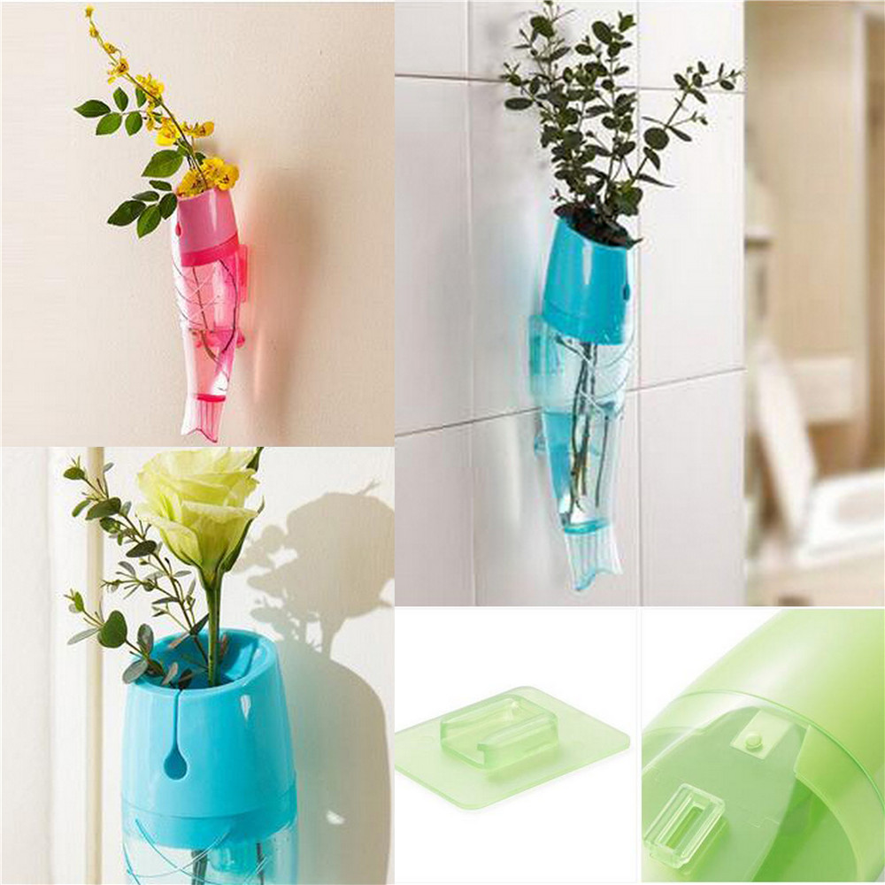 Wall vases for flowers - Creative Fish Design Plastic Wall Hanging Flower Vase Mounted Home Decorative Art China Mainland