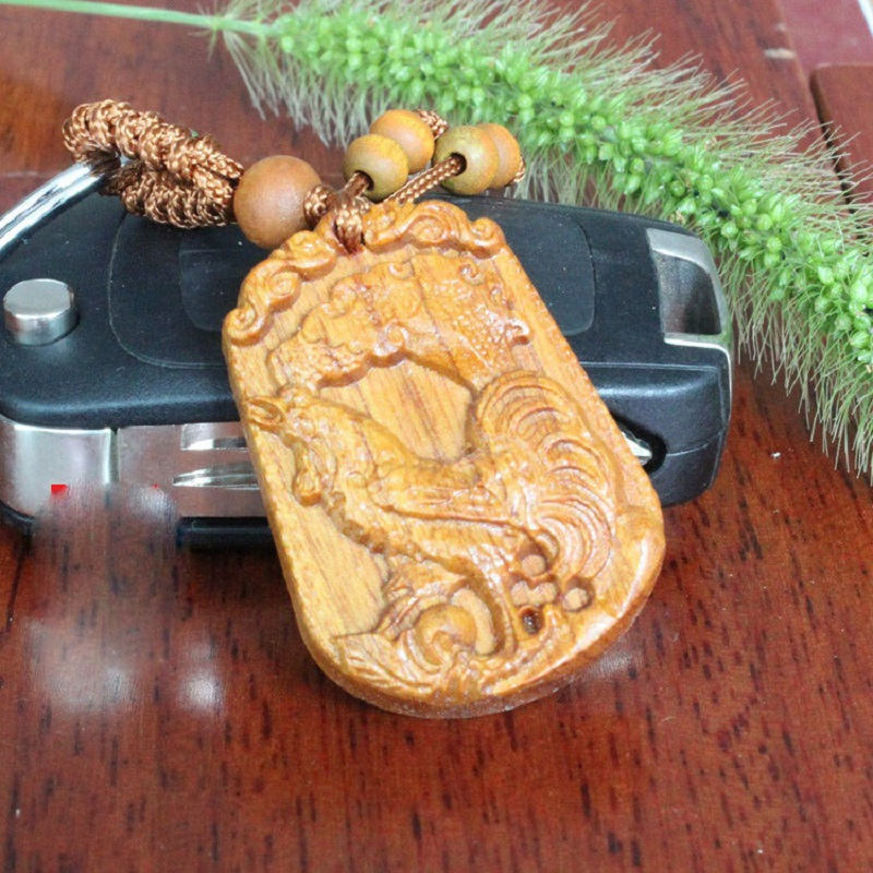 New design rosewood cock carved keychain wood crafts key ring car keyring wholesale 3pcs lot in - Cock designing ...