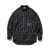 High Quality 2019 Autumn Letter Printed Casual Shirt Men Plaid Shirt Long Sleeve Streetwear Men Cotton Vintage Harajuku Shirt