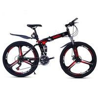 Aoxin 24-inch الاهتزاز التخميد للطي عالية الكربون الصلب الدراجات الجبلية الدراجة الجبلية الرياضة الرجال النساء bicicleta