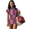 Impressão mulheres tops e calções conjunto de roupas de moda áfrica africano conjuntos de impressão senhoras casuais curto sem encosto top apertado hort