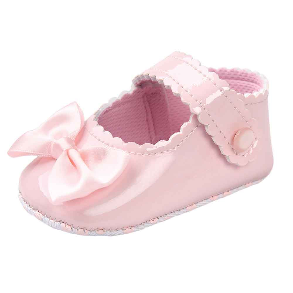 Baby Girl Bowknot Leater Shoes Sneaker Anti-slip Soft Sole Toddler F5