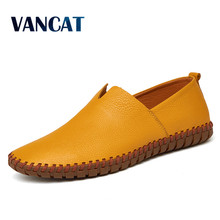 VANCAT Big Size Men Genuine Leather Shoes Slip On Black Shoes Real Leather Loafers Mens Moccasins Shoes Italian Designer Shoes