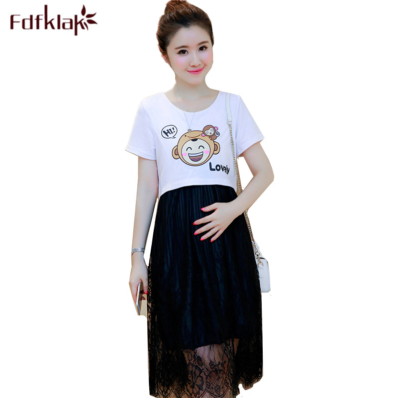 Fdfklak Cute Cartoon Two Pieces Maternity Clothes Short Sleeve Casual Dress Women Cotton Lace Pregnancy Dress Pregnant Dresses