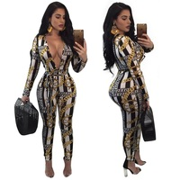 2018 Autumn Women Sexy V neck jumpsuit Body bodysuit Plus size clothes Print Pattern Playsuits