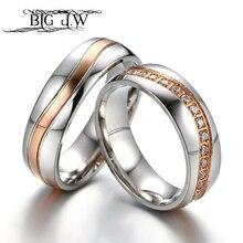 27d5efb7aed8 Grande J.W lujo Wave línea CZ piedras anillos de boda pareja aniversario  promesa propuesta compromiso eterno