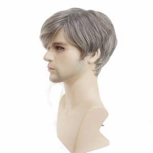 Image 3 - StrongBeauty của Nam Giới tóc giả màu xám Bạc Mix Ngắn Straight Tự Nhiên Nhiệt Tổng Hợp Kháng Fiber Full Tóc Giả