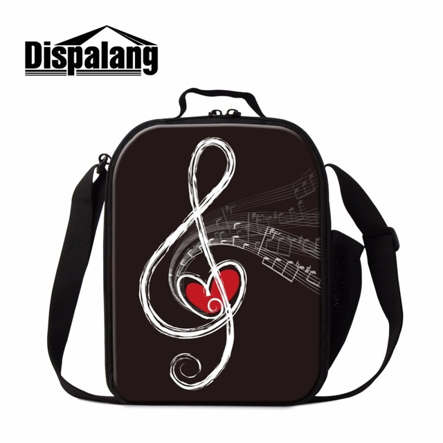 Dispalang Trendy Insulated Lunch Bag For Children Art Musical Printed Messenger Box Kids