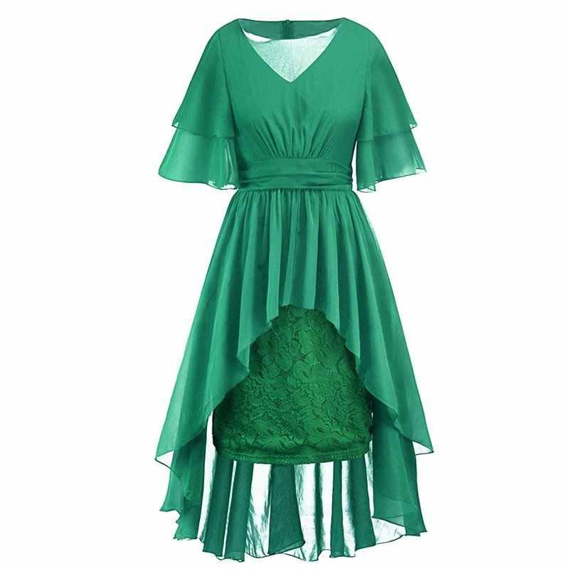 Элегантные пикантные Клубные вечерние партии Готический для женщин длинные платья Повседневное OL Леди Зеленый шифон Цветочные плиссиро