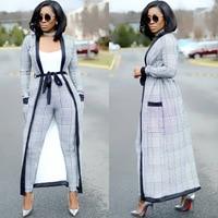 JOYINPARTY womens plaid 2018 Casual Rompers Full Sleeve Long Jumpsuit 3 Piece Women fashion lace up elegant set new
