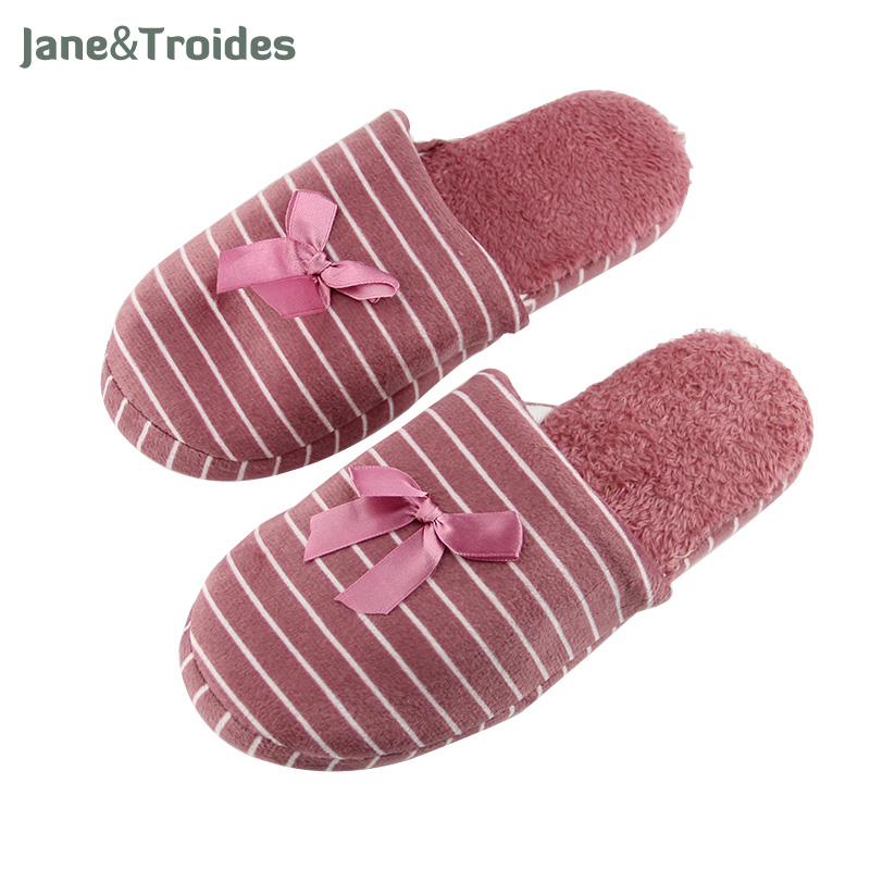 все цены на Jane&Troides Winter Fluffy Home Slippers For Women Striped Bow Plush Anti Slip Flip Flops Warm Indoor Fashion Woman Shoes онлайн