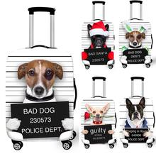 Funny Bad Dog Bull Dog With Red Hat Student Travel Suitcase Cover Men Elastic Luggage Protective Covers bagages roulettes Covers(China)