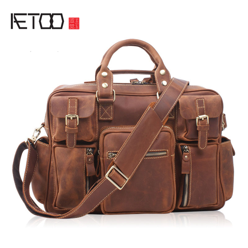 AETOO  Europe and the United States tide frenzy leather leather men bag hand travel travel shoulder diagonal baggage bag aetoo europe and the united states retro oil leather men bag large capacity leather briefcase import the first layer of yellow l