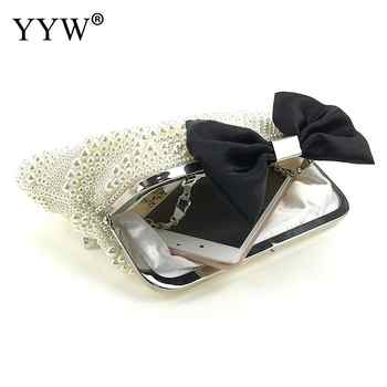 Luxury Pearl Clutch Bags Women Purse Diamond Chain White Evening Bags For Party Wedding Black With String Beads Feminina
