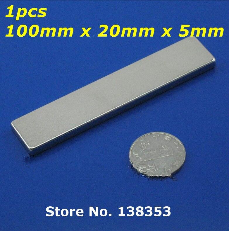 1pcs Bulk Super Strong Neodymium Rectangle Block Magnets 100mm x 20mm x 5mm N35 Rare Earth NdFeB Rectangular Cuboid Magnet strong 1 2 1 5 1 8