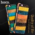 Funda de cuero de hoco para el iphone 6 plus/6 s plus platino serie de bambú de color superior de la cubierta de cuero protectora case pc envío gratis