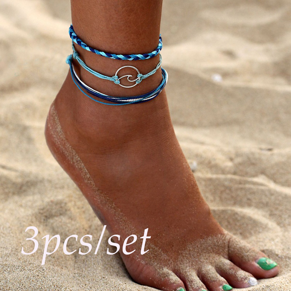 3pcs Summer Vintage Multiple Layers Anklets for Women Bohemia Silver Wave Anklets Bracelets for Women Rope Beach Foot Anklet 507