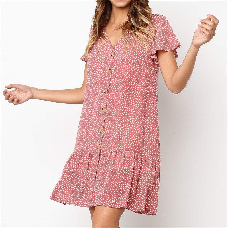 Ruffled Hem V Neck Button Casual Loose Dress Women Summer  Short Sleeve Chiffon Printed Dress Beach Style Mini Short Dress