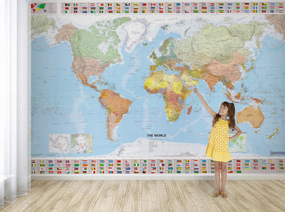Custom children's wallpaper,world map,modern murals for the living room of children's room wall wallpaper the physical world wall map material laminated