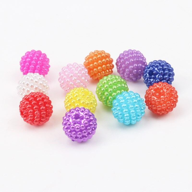 Смешанные цвета жемчуг Waxberry мяч форма Круглый Акриловые Spacer Бусины Fit Украшения ручной работы DIY Accessoies 10 мм 100 шт.